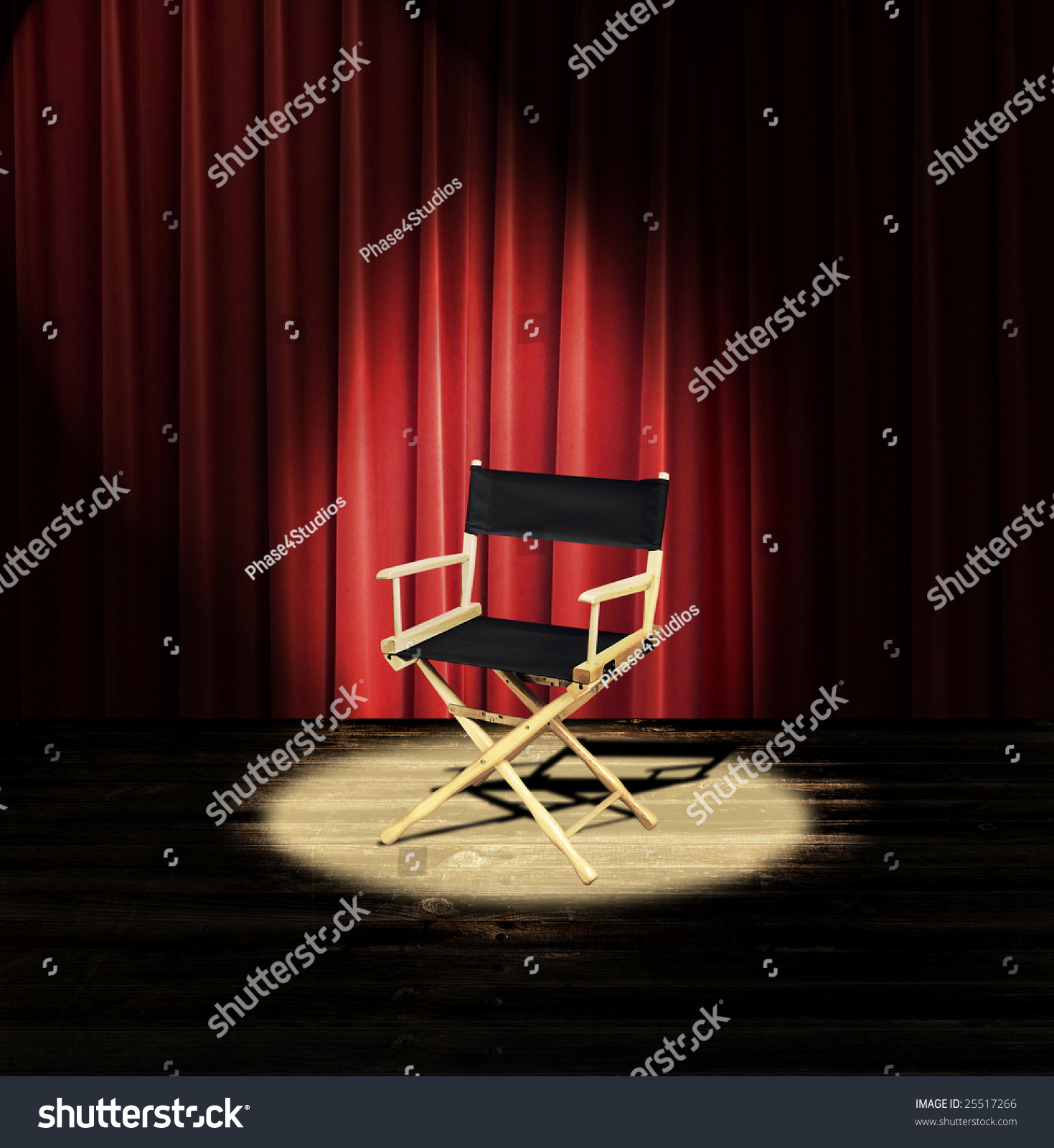 Red curtain spotlight - A Directors Chair On A Stage With A Red Curtain And Spotlight