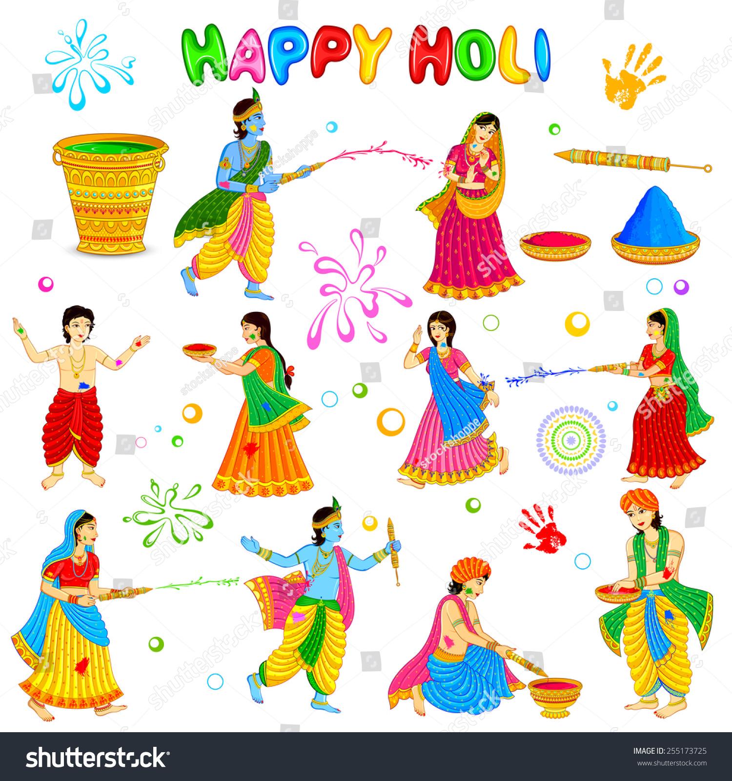 Happy holi radha krishna images - Vector Illustration Of Radha Krishna Playing Holi