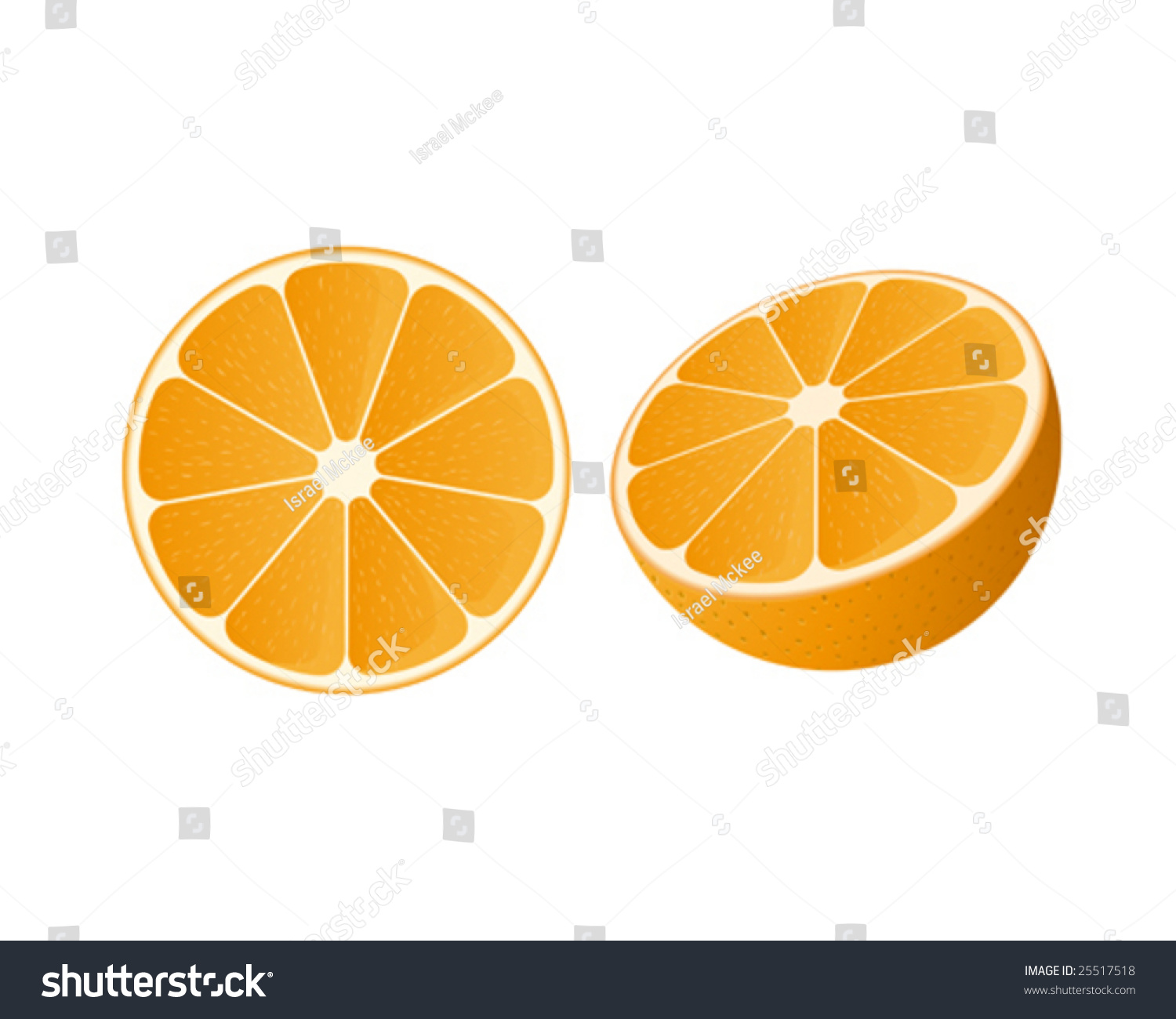 Vector Of A Slice Of Orange And A Half Orange - 25517518 ...
