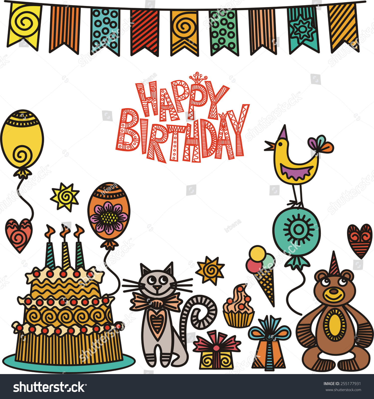 Happy Birthday Greeting Card Cake Cat Stock Vector