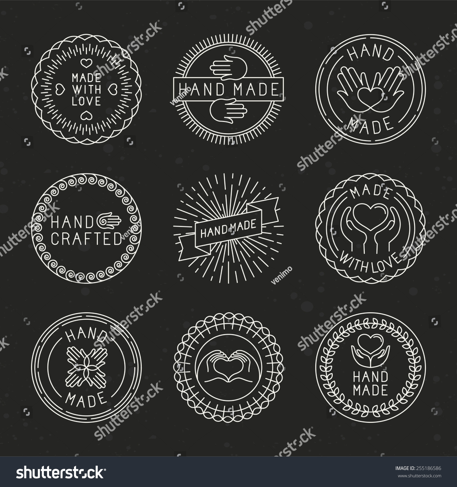 Vector set linear badges logo design stock vector for Handcrafted or hand crafted