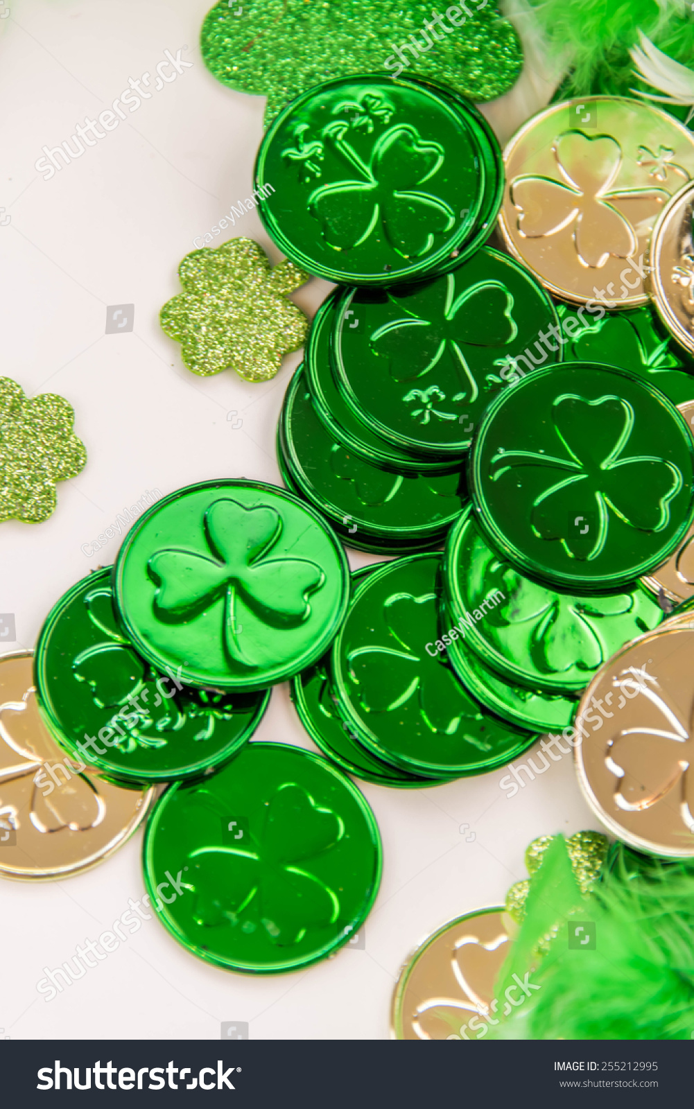 st patricks day decorations gold coins stock photo 255212995 shutterstock. Black Bedroom Furniture Sets. Home Design Ideas
