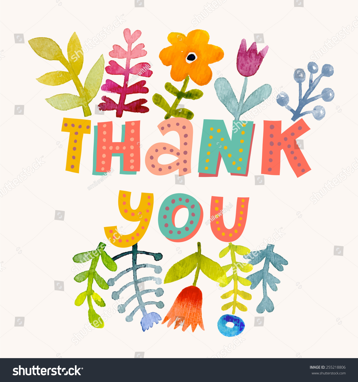 Sweetly Pretty Thank You Card Vector Stock Vector 255218806 ...