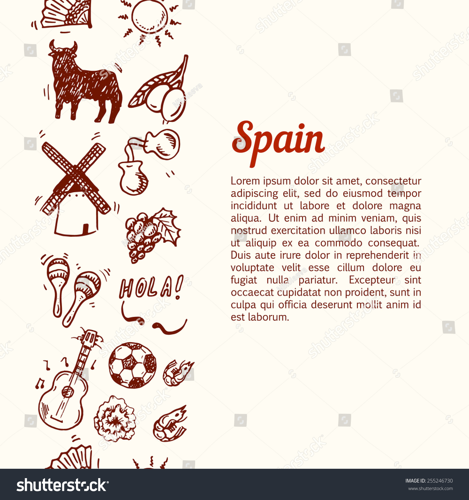 Travel Spain, Doodles Symbols Of Spain. Stock Vector ...
