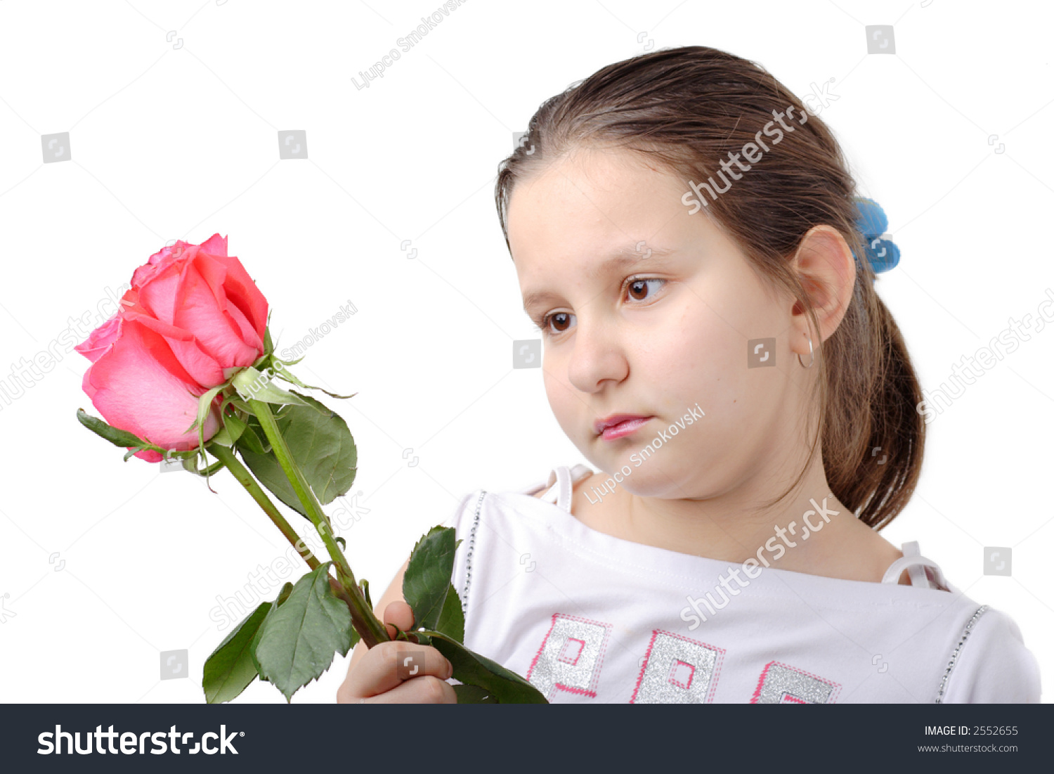 Little Flowers Girl Holding Sad Stock Photos, Images