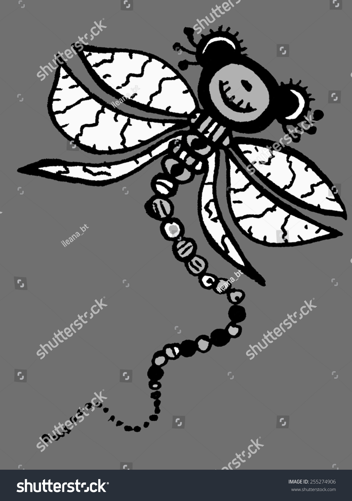 Stylized dragonfly unique drawings and sketches