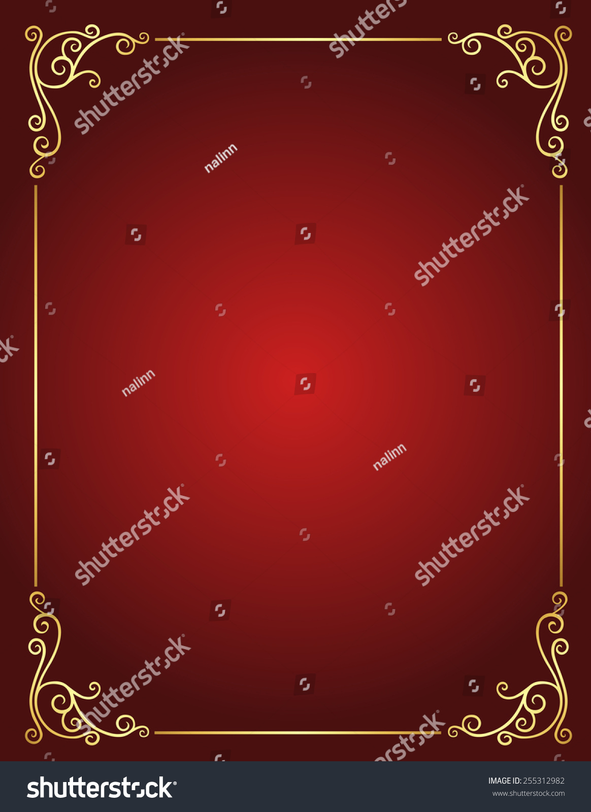 Elegant Gold Red Maroon Color Blank Stock Vector 255312982 ...