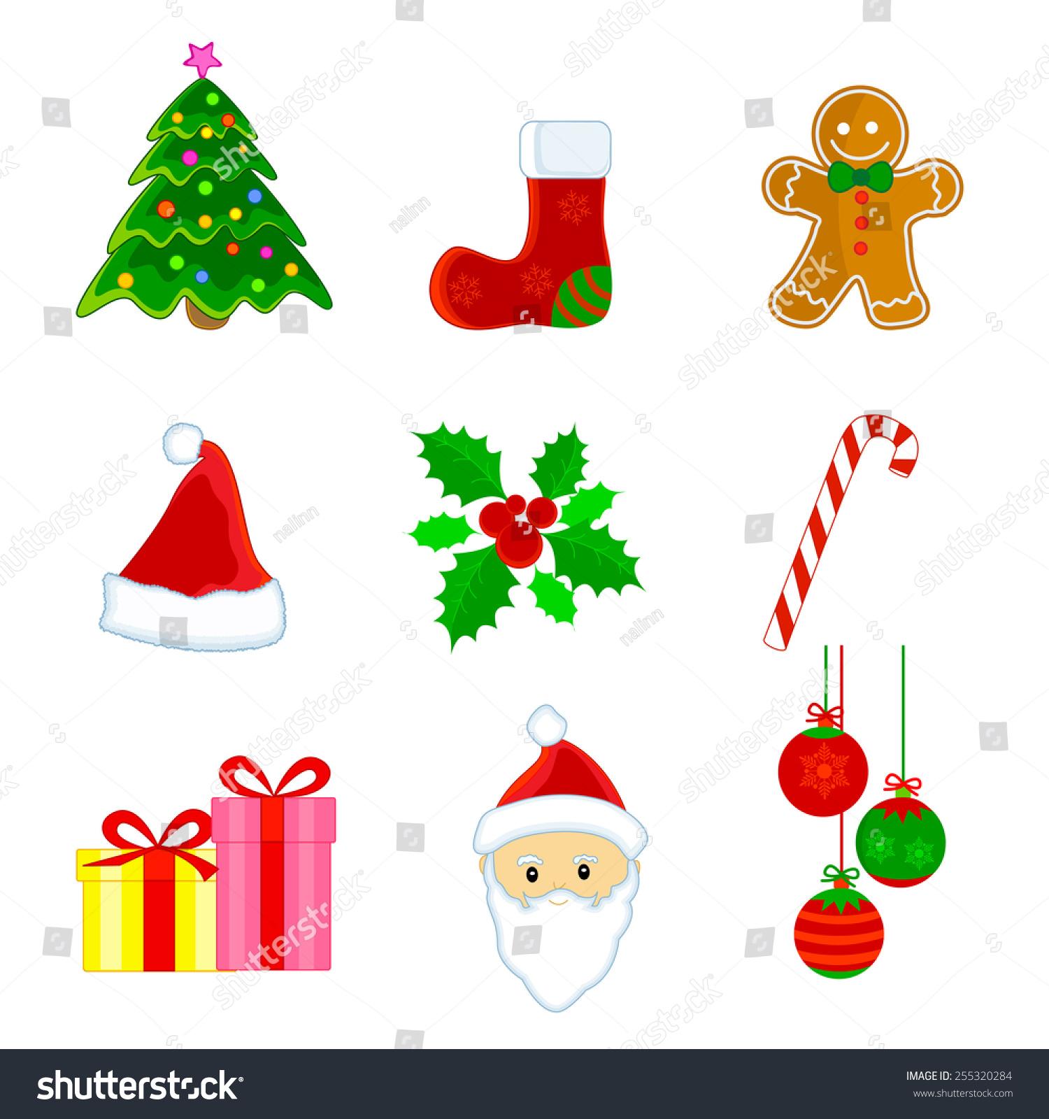 Cute Christmas Web Icon Clipart Set Stock-Vektorgrafik (Lizenzfrei ...