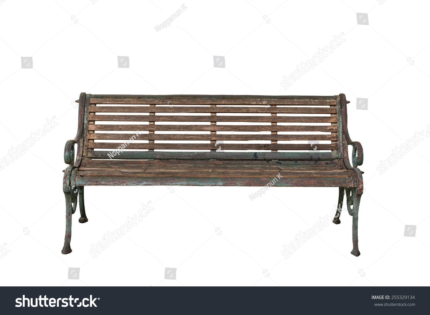 Old Vintage Bench Isolated On White Stock Photo 255329134