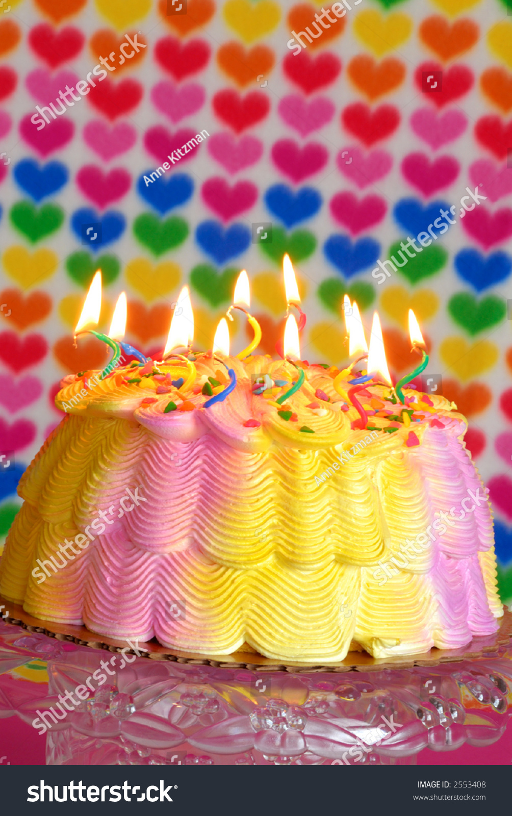 Valentine Birthday Cake Lighted Candles On Stock Photo Edit Now