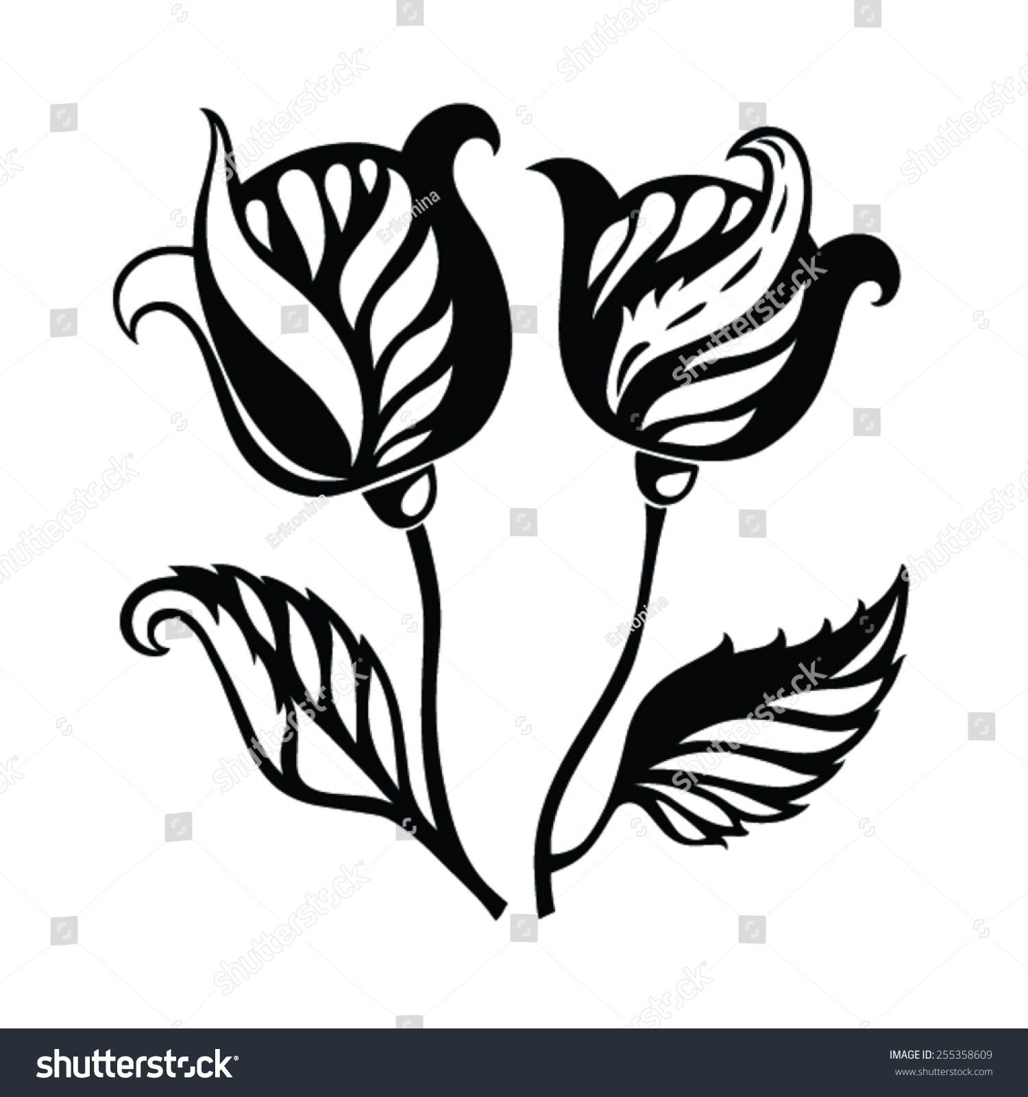 Abstract Flowers Black White On White Stock Vector Royalty Free