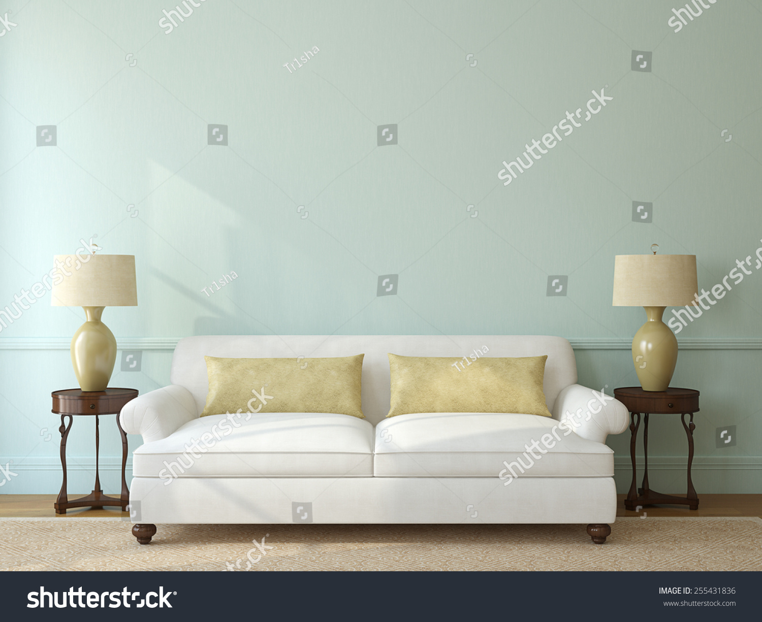 Classic Living Room Interior With White Couch Near Empty Blue Wall. 3d  Render. Part 79