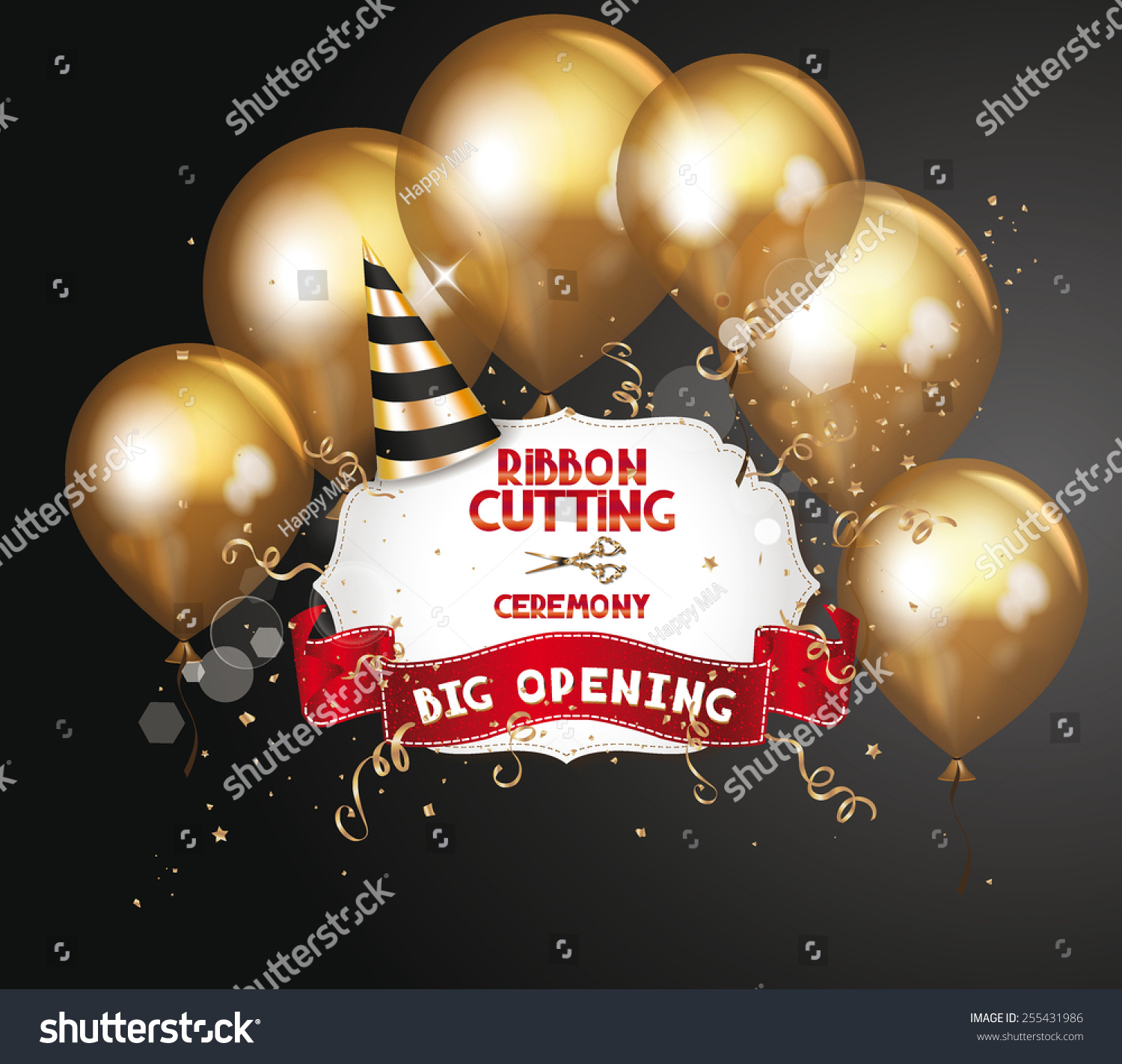 ribbon cutting ceremony invitation card with gold air balloons