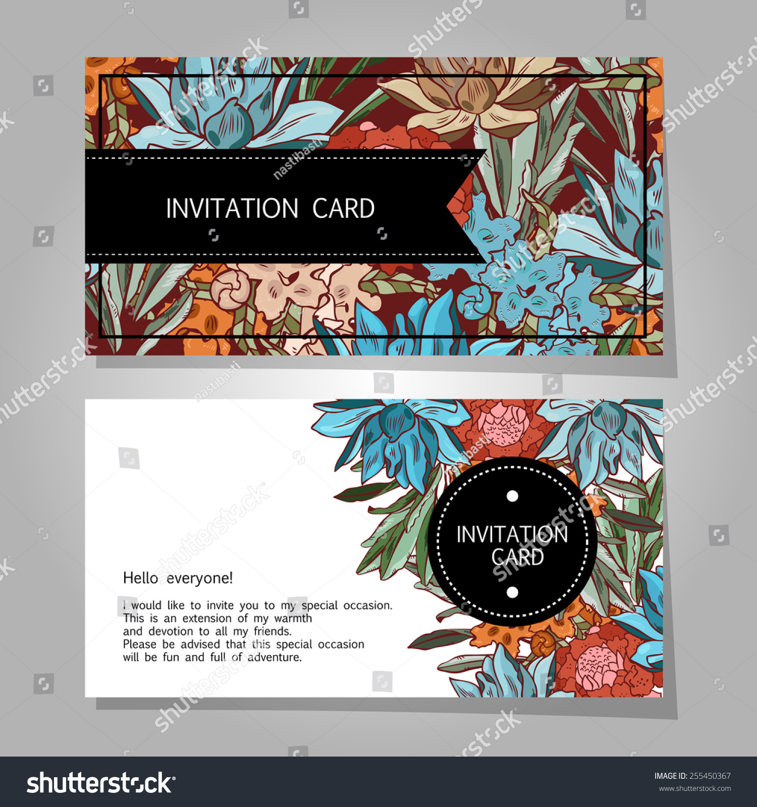 Wedding Invitation Card Suite Flowers Background Stock