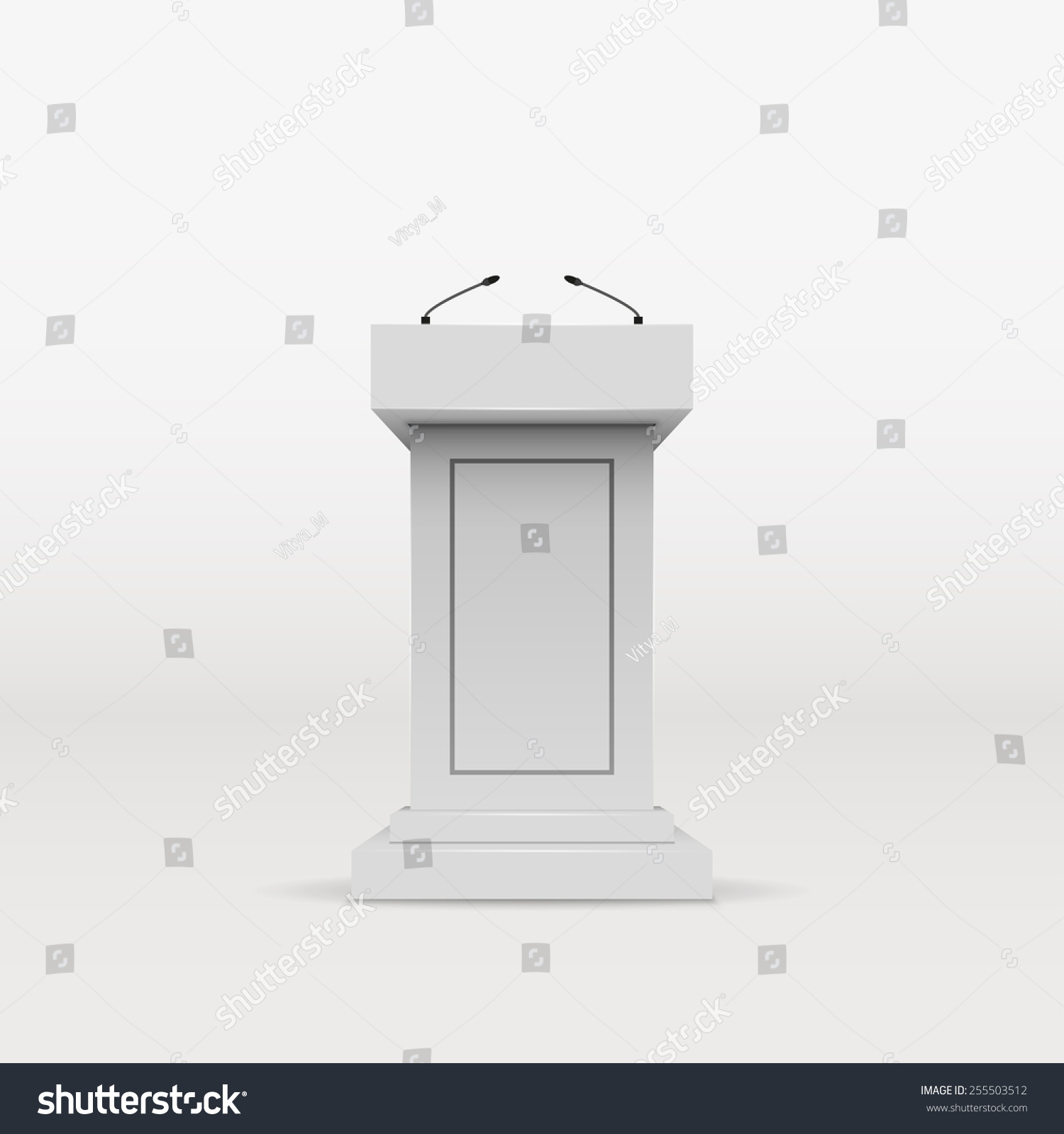 White Studio Background With Podium: Vector White Podium Tribune Rostrum Stand With Microphones