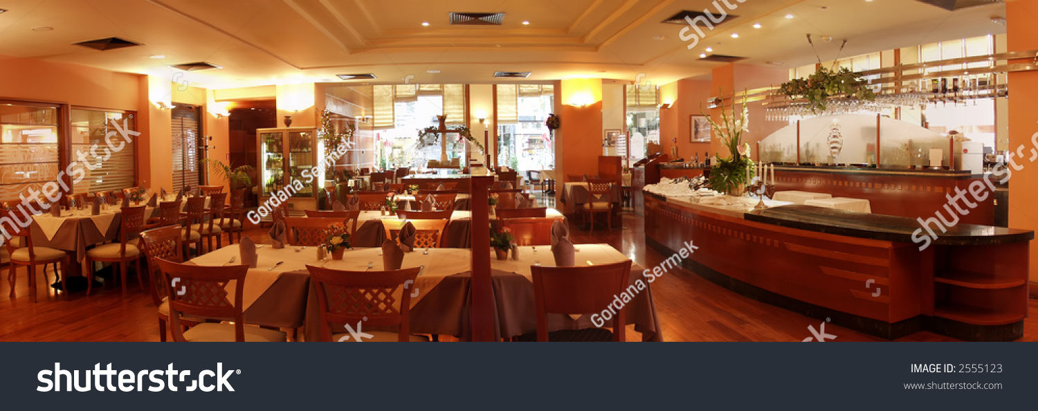 Restaurant interior served tables panorama stock photo