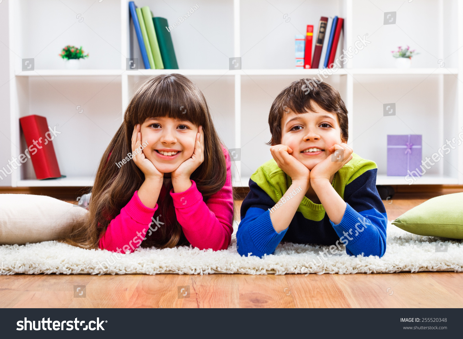 Gorgeous Family Playing Games Together Lying Stock Photo 614042999 ...