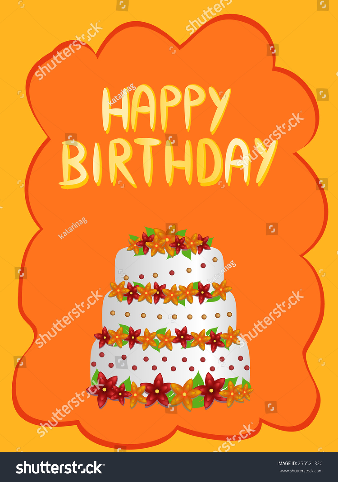 Happy Birthday Cake Flowers Illustration Stock Illustration
