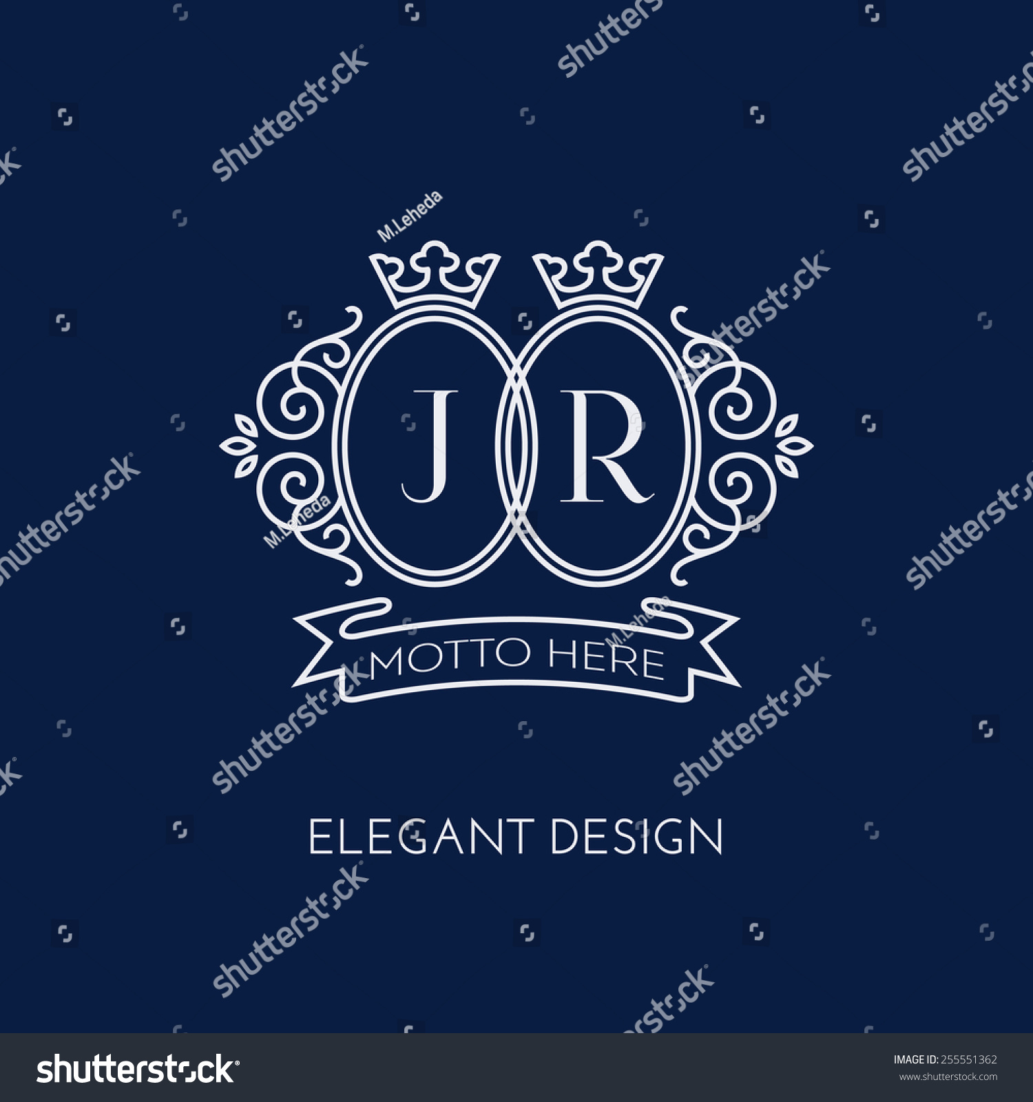 Simple and elegant monogram design template for two letters J R with a double crown Vector illustration