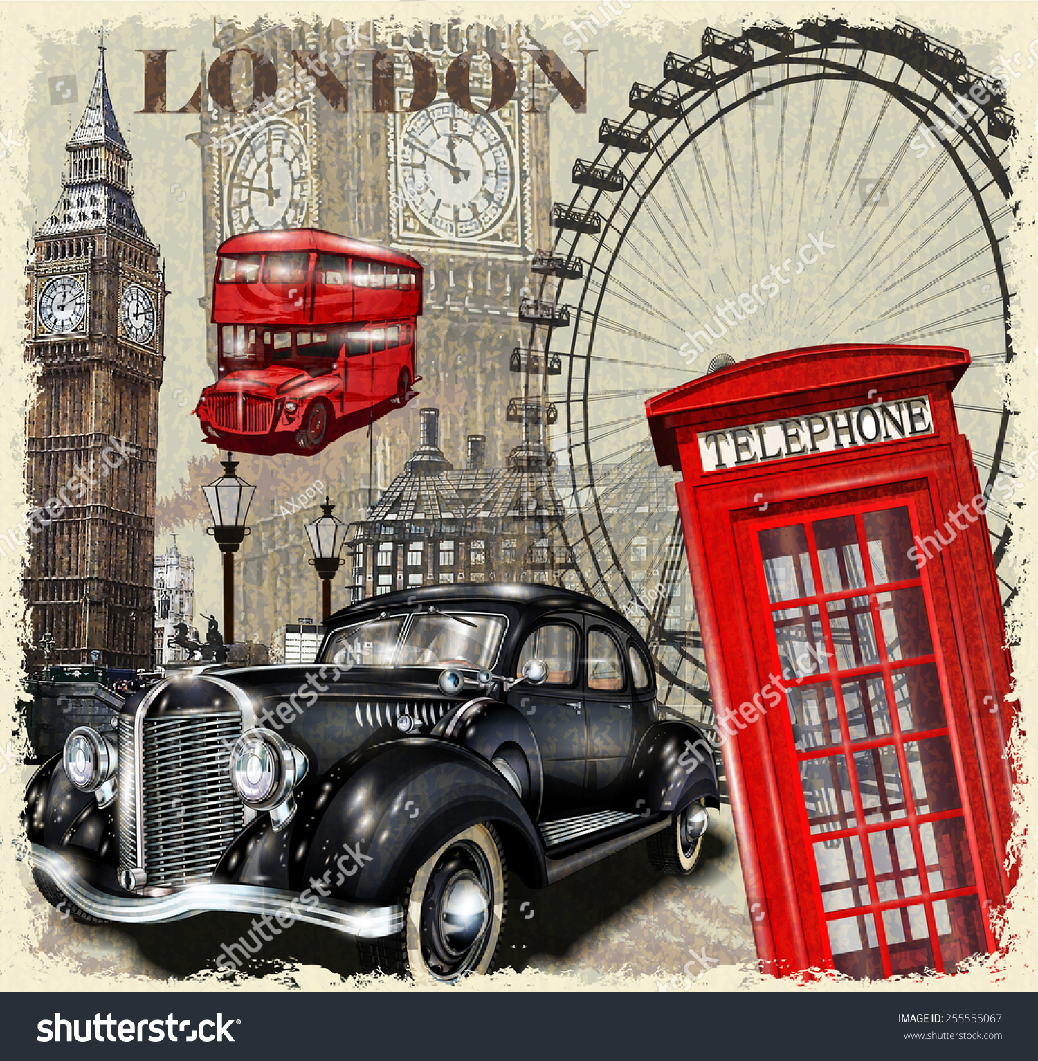 Royalty-free London vintage poster. #255555067 Stock Photo ...