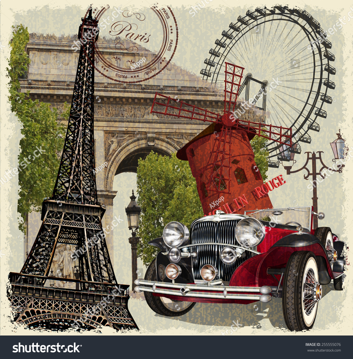 Paris vintage poster stock vector 255555076 shutterstock for Imagenes retro vintage