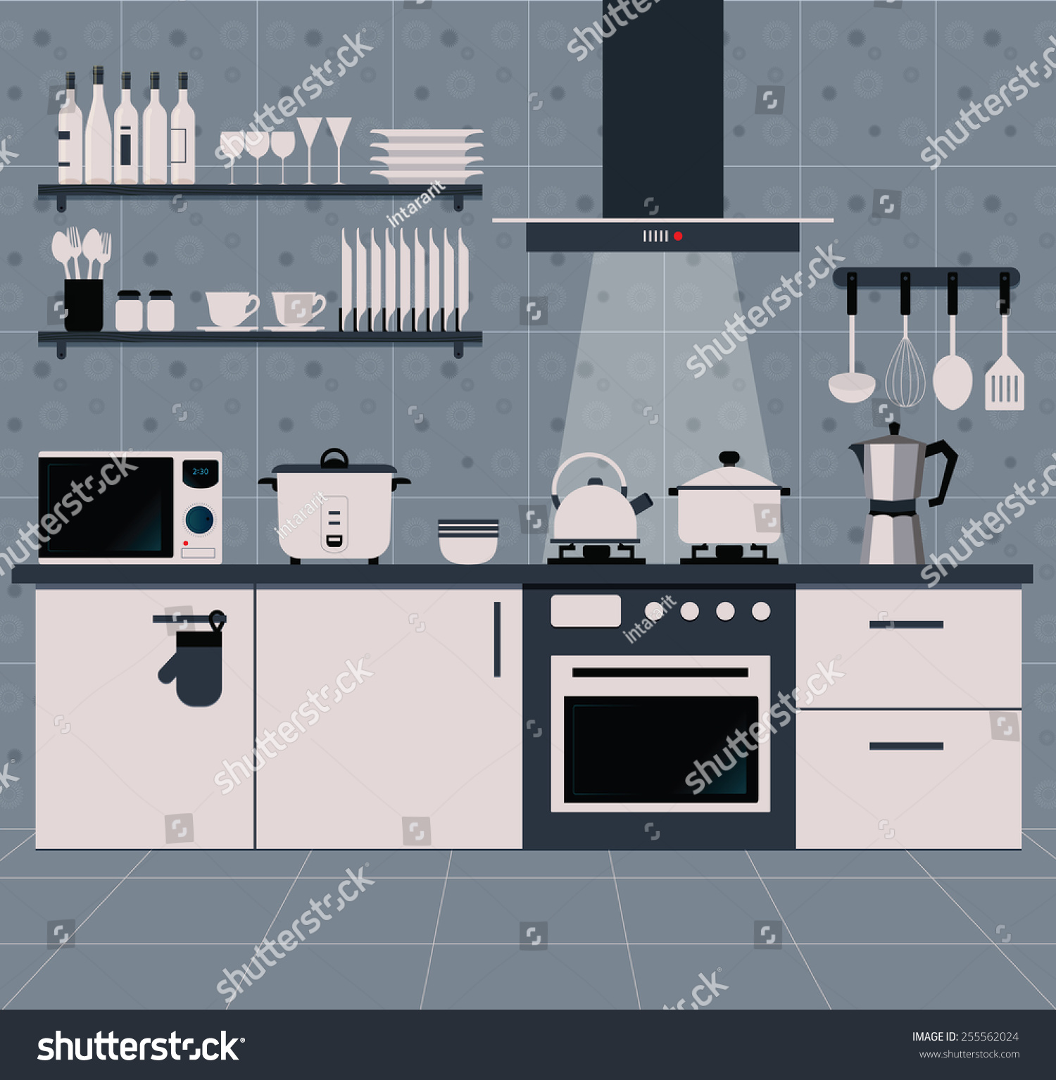Interior Kitchen Cooking Equipment Patterned Tiles Stock Vector ...