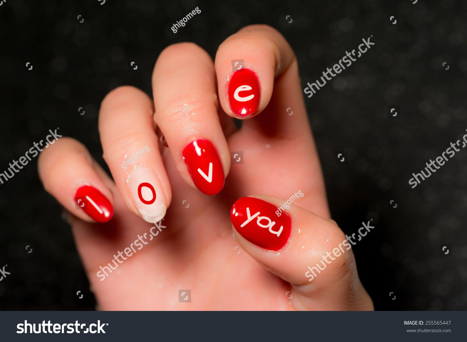 Manicure Nail Art Love Message Stock Photo (Edit Now) 255565447 ...