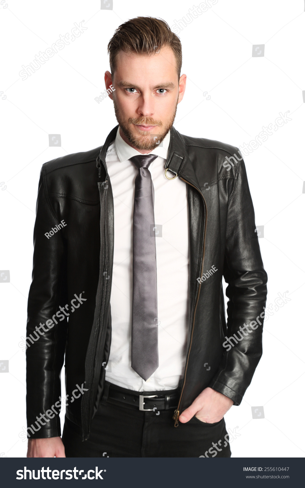 Leather jacket with shirt and tie