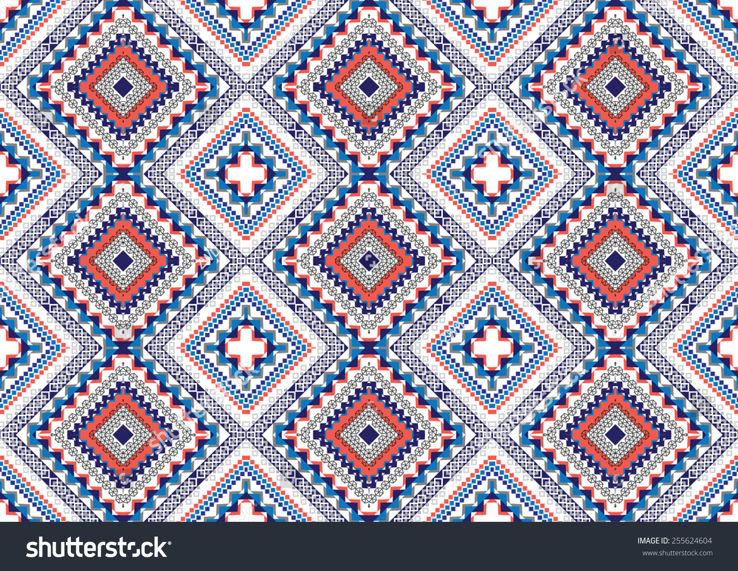 Abstract Ethnic Geometric Patterns Colorful Design Stock
