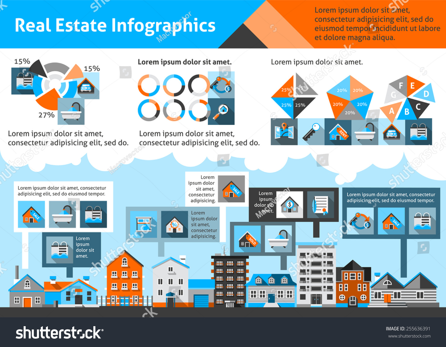 Commercial Property Information : Real estate infographics set commercial property stock