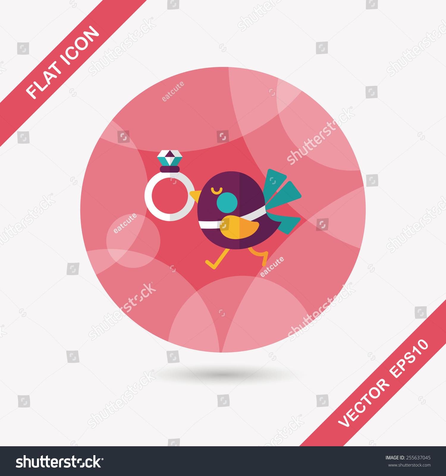 Wedding Bird Diamond Ring Flat Icon Stock Vector 255637045 ...