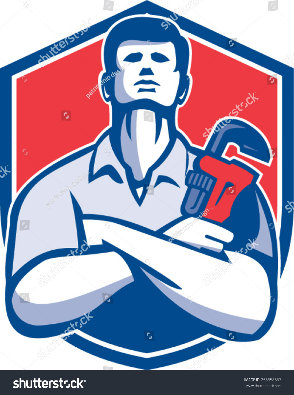 Illustration Handyman Plumber Repairman Worker Arms Stock Vector ...