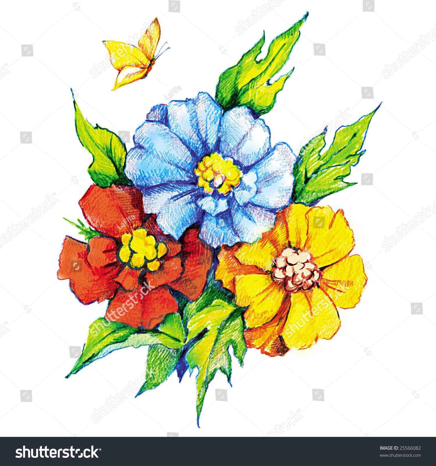Beautiful Flowers Butterfly Colored Pencil Drawing Stock Illustration 25566082