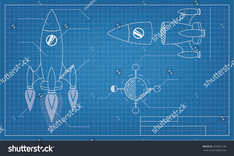 Blueprint spaceship vector de stock255682138 shutterstock blueprint with spaceship malvernweather Image collections