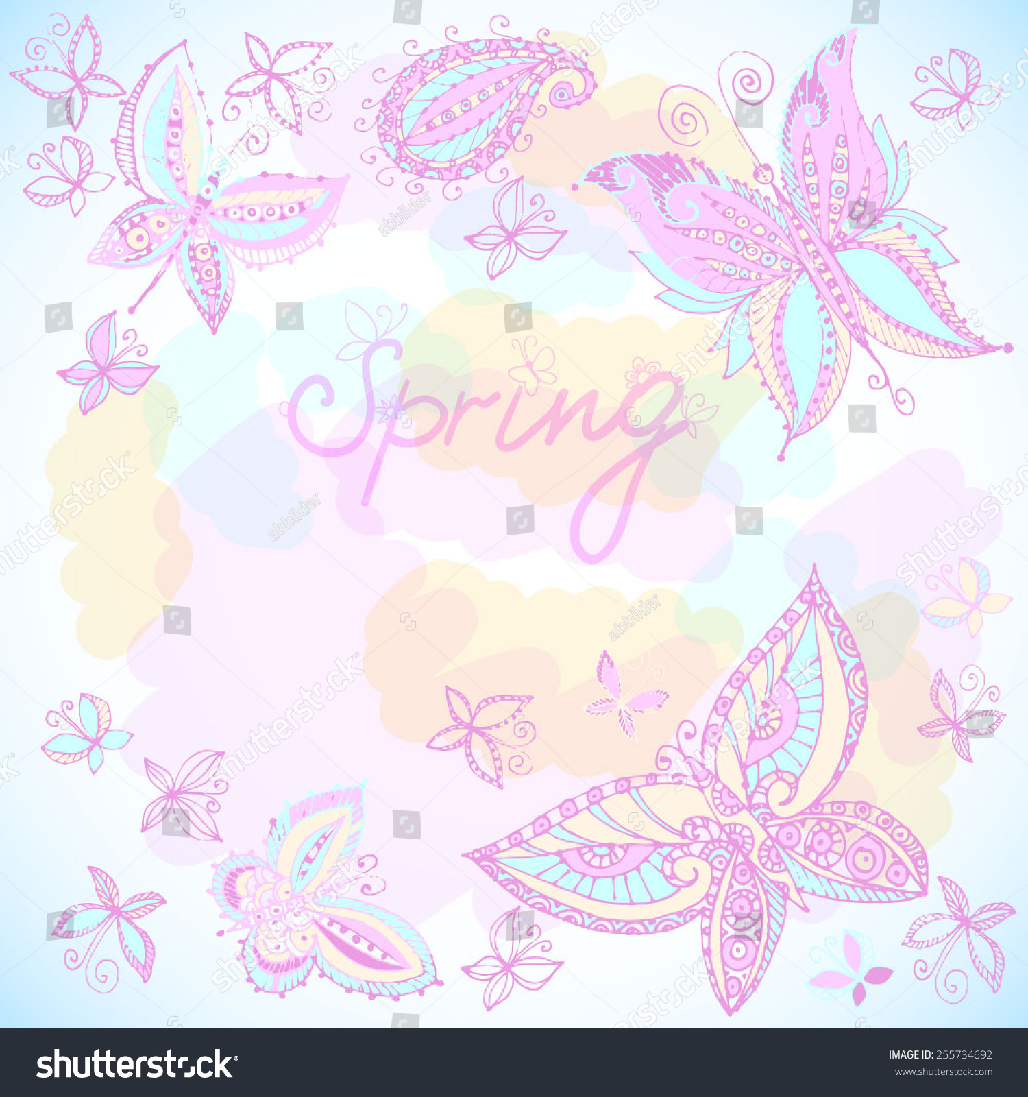 Beautiful spring background of butterflies pastel colors for Beautiful pastel colors