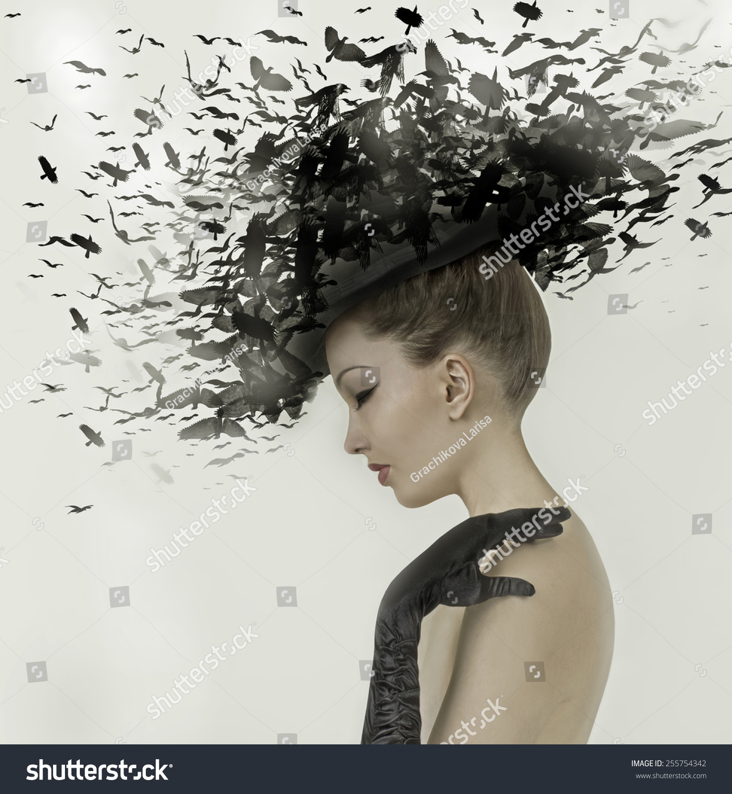 Spring Woman Fantasy Fashion Portrait Fall Stock Photo - Hairstyle design pictures