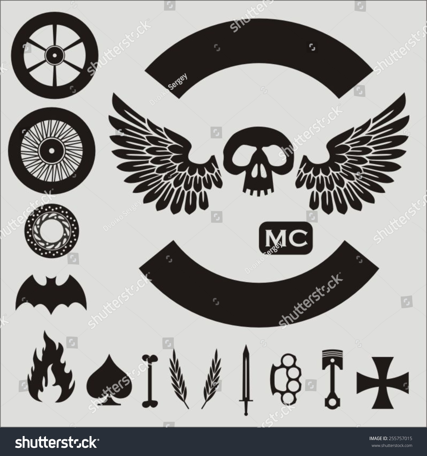 small motorcycle vector elements set template のベクター画像素材