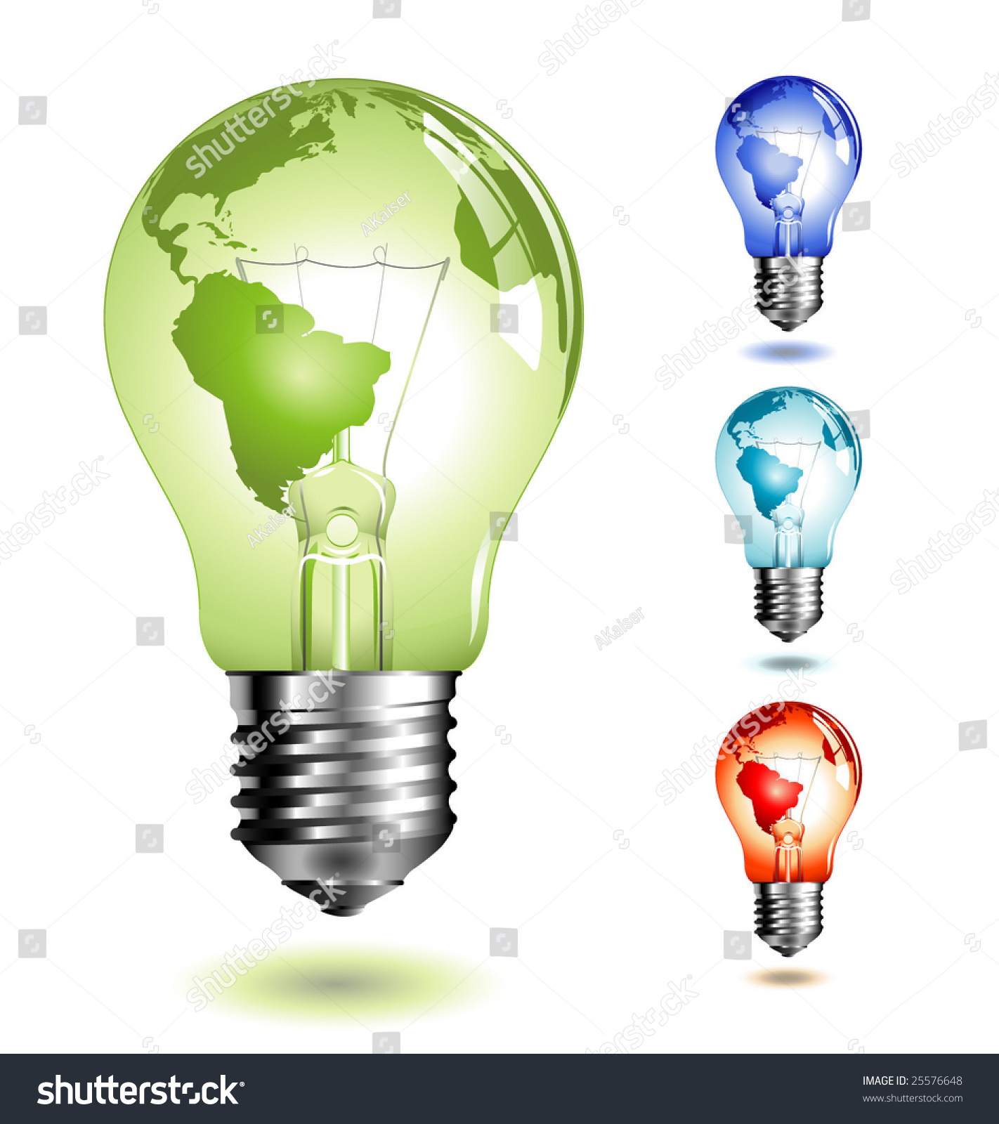 vector lightbulb with world map four different color versions 25576648 shutterstock. Black Bedroom Furniture Sets. Home Design Ideas