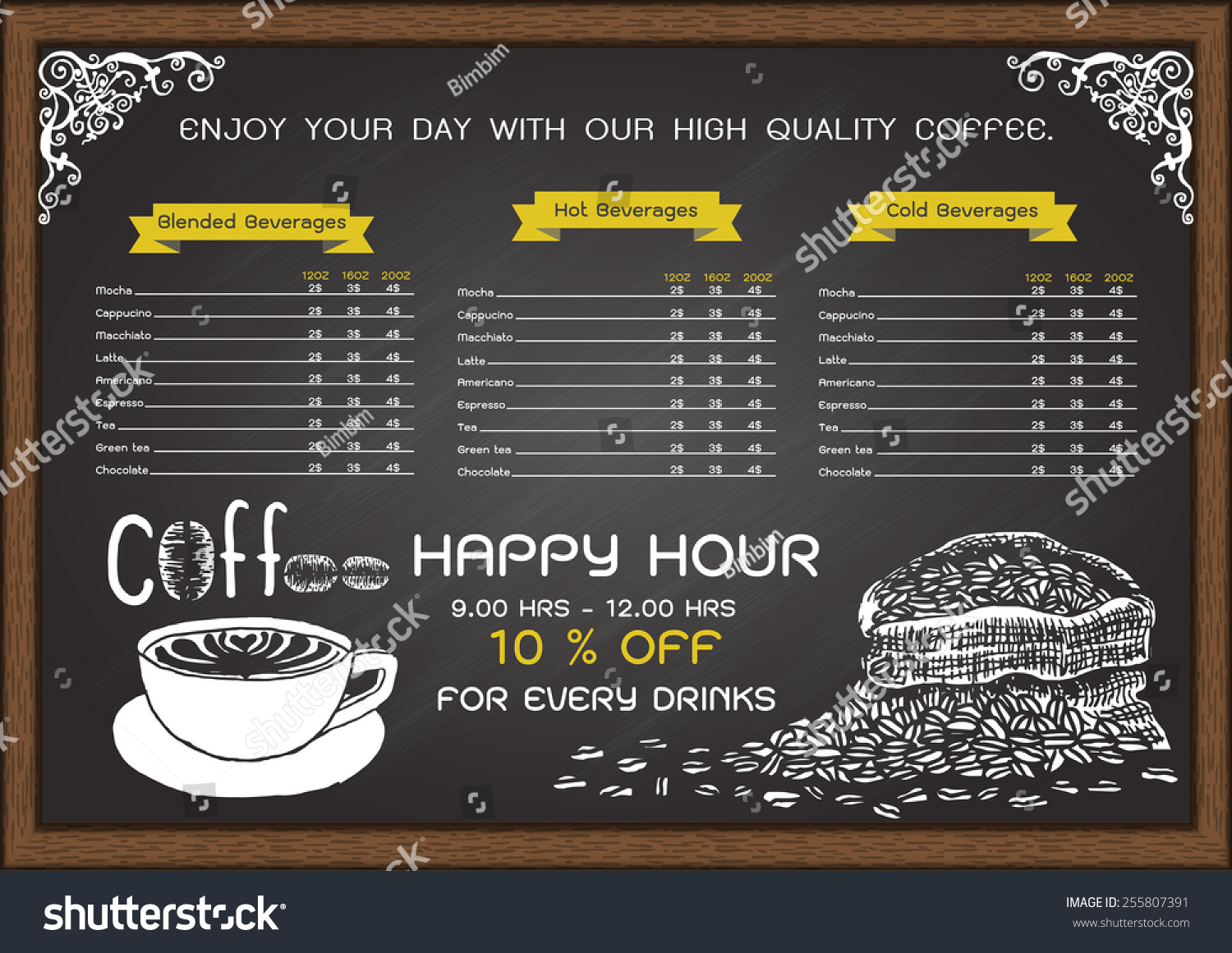 Cafe Menu On Chalkboard Design Template With Hand Drawn A Cup Of Hot Coffee And