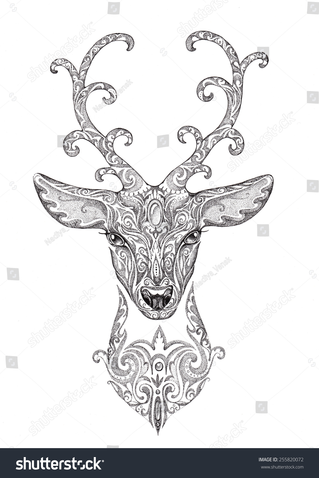 Stock Photo Stylized Image Of A Beautiful Forest Deer Head With Horns