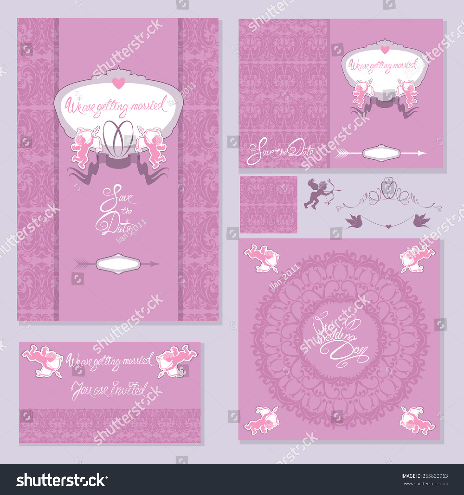 Set Wedding Invitation Cards Floral Elements Stock Illustration ...