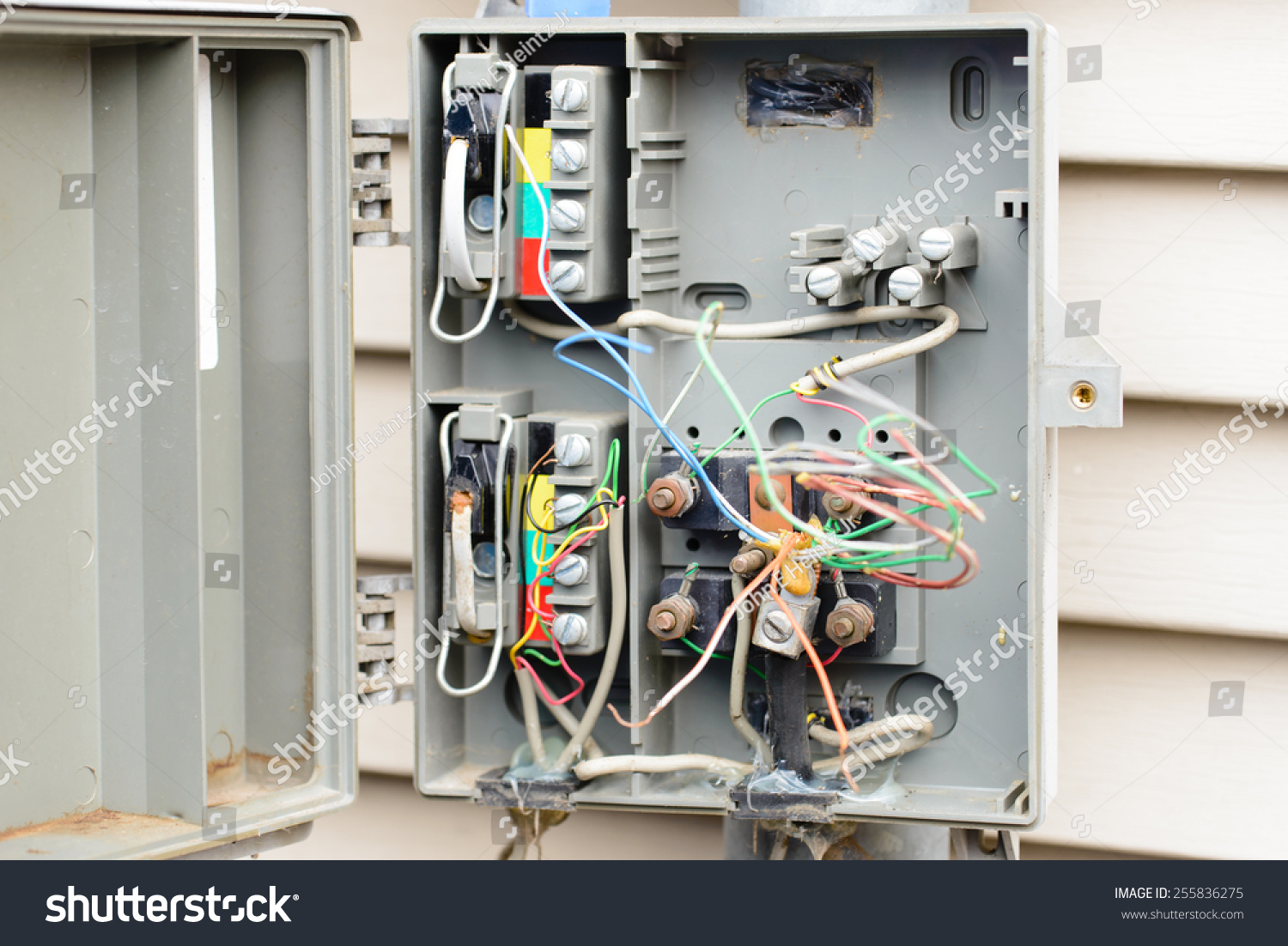 Exposed Outdoor Telephone Wire Wiring Box Interface Open Wires Stock Photo Edit Now 1500x1102