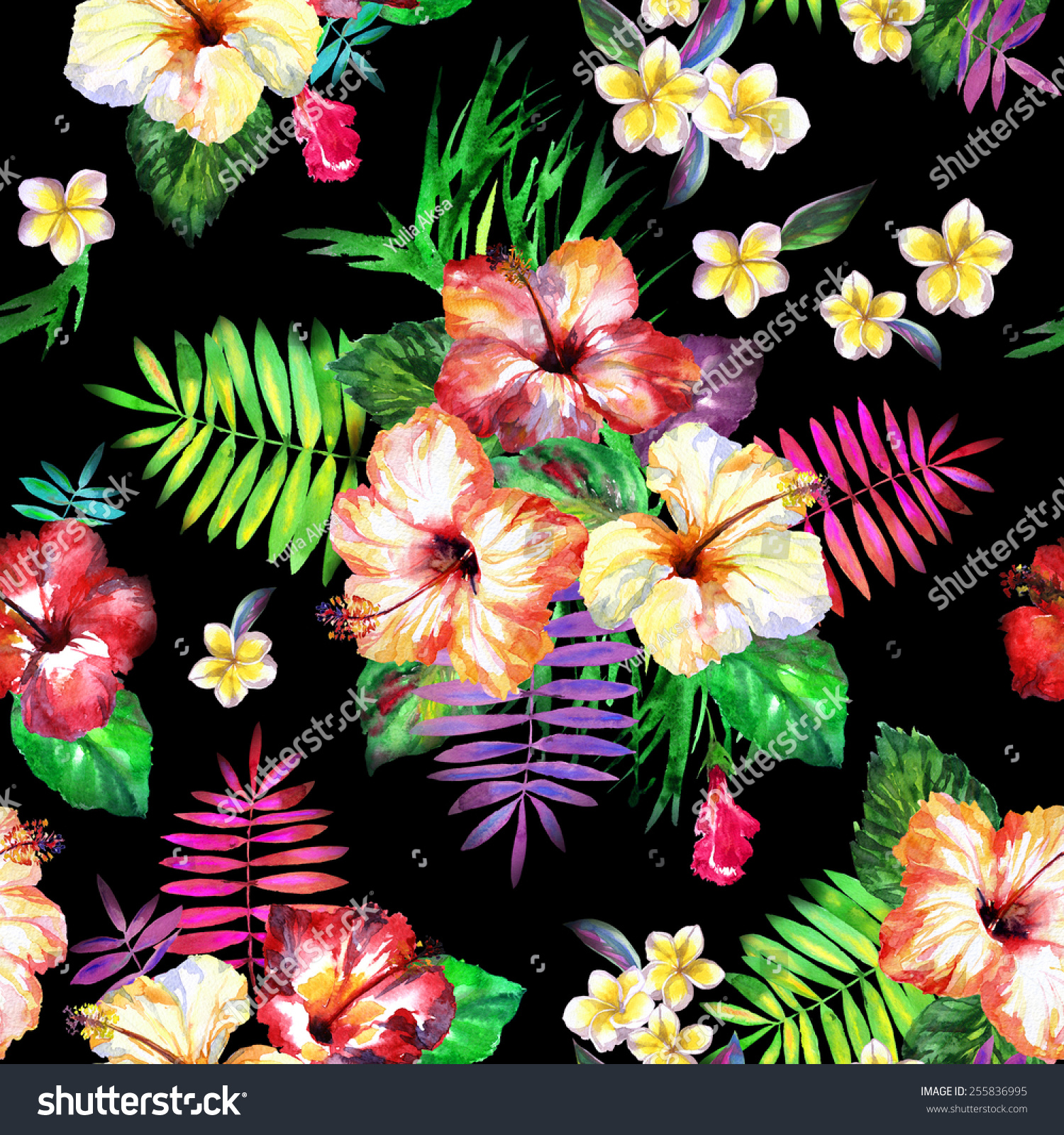 vivid seamless floral pattern diverse tropical flowers on