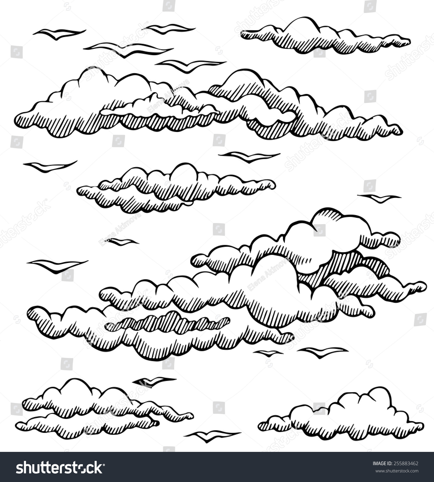 Line Drawing Clouds : Vector set clouds seagulls line drawing stock