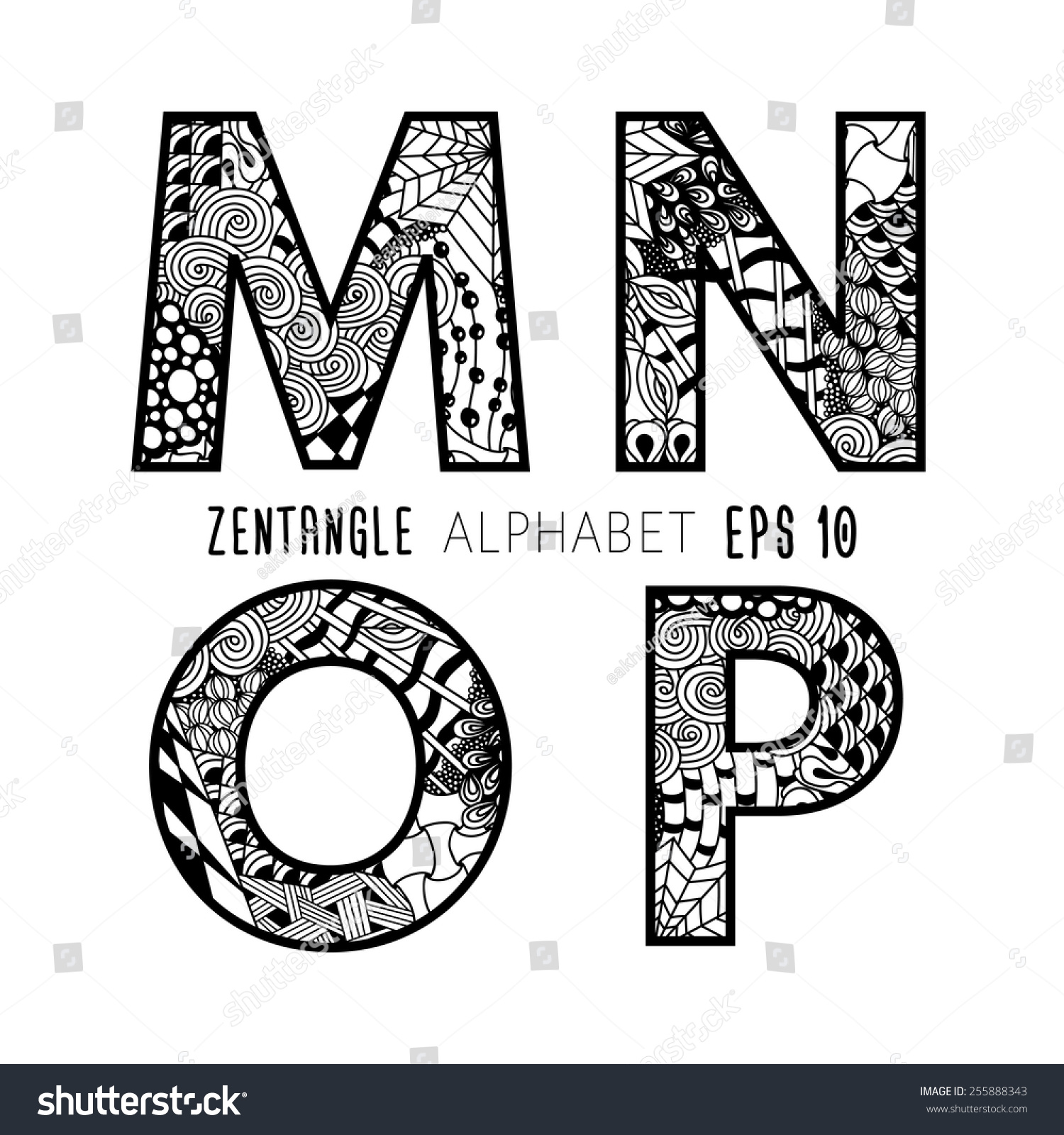 Royalty free vector set of zentangle letters doodle 255888343 vector set of zentangle letters doodle alphabet on plain white background black lace from altavistaventures Gallery