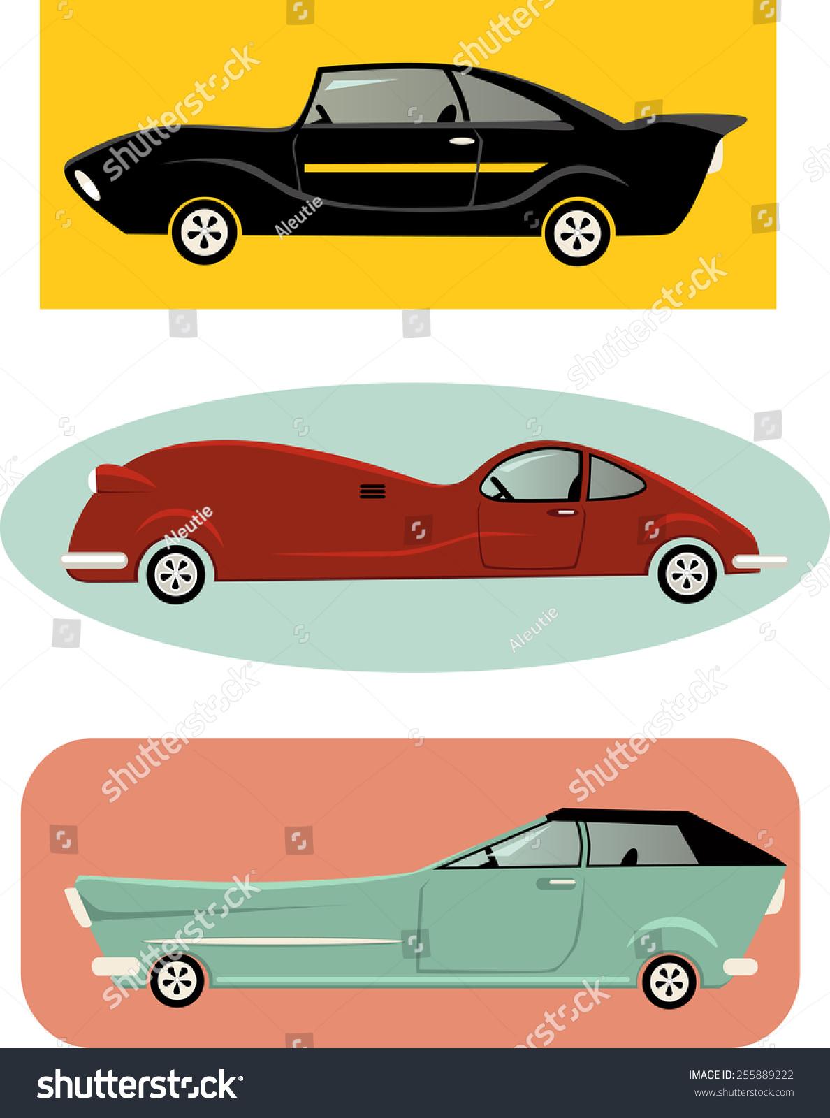 Set Vintageinspired Cartoon Muscle Cars Vector Stock Vector