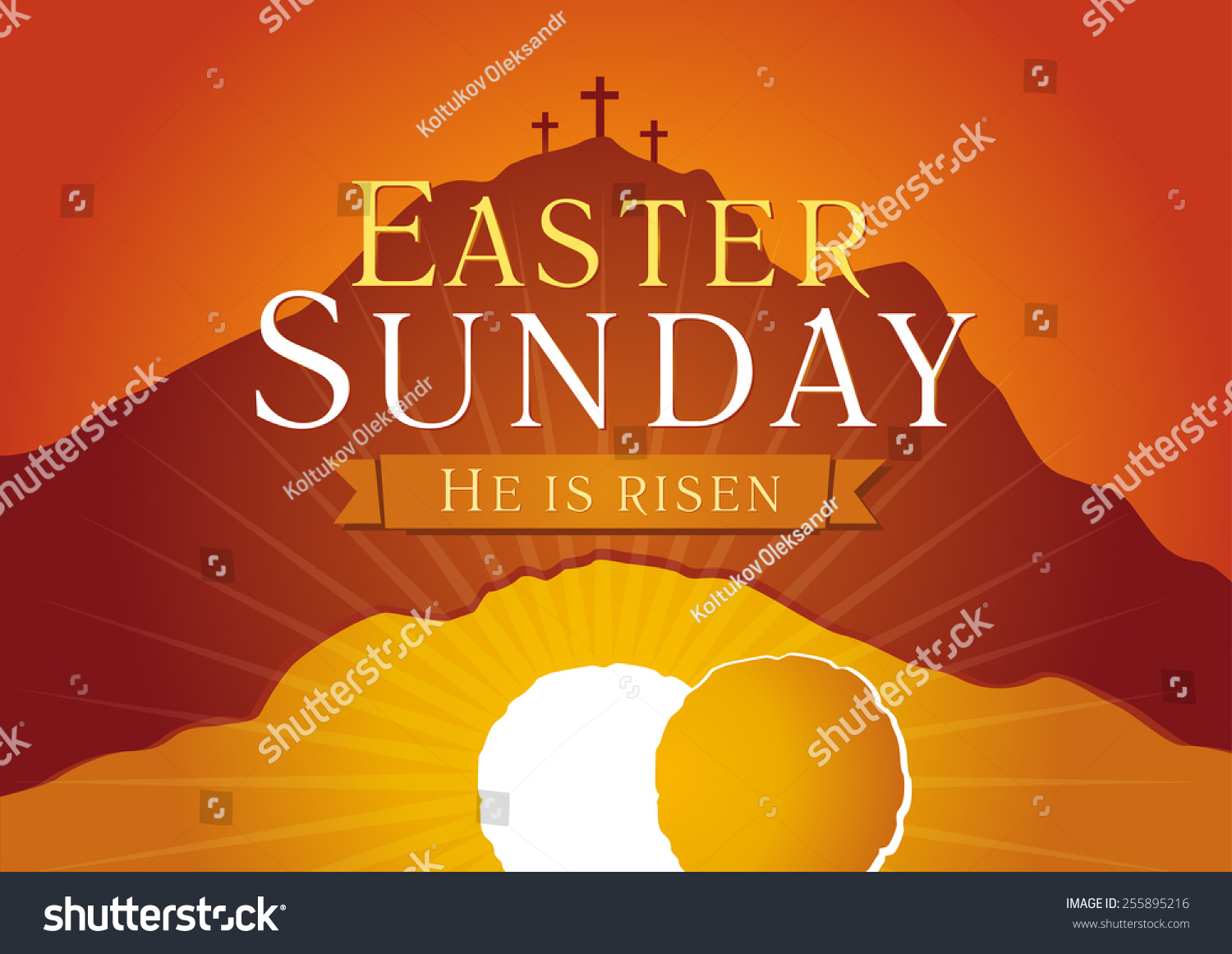 Easter sunday he risen greetings invite stock vector 255895216 easter sunday he is risen greetings invite vector card calvary sunrise with m4hsunfo