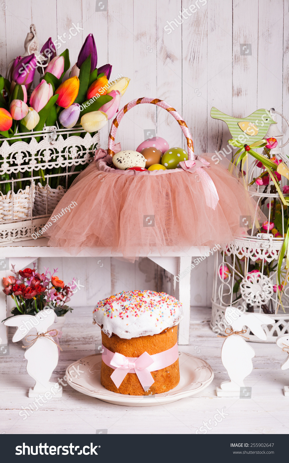 Easter Decorations Spring Flowers Rabbits Cake And Tutu Basket