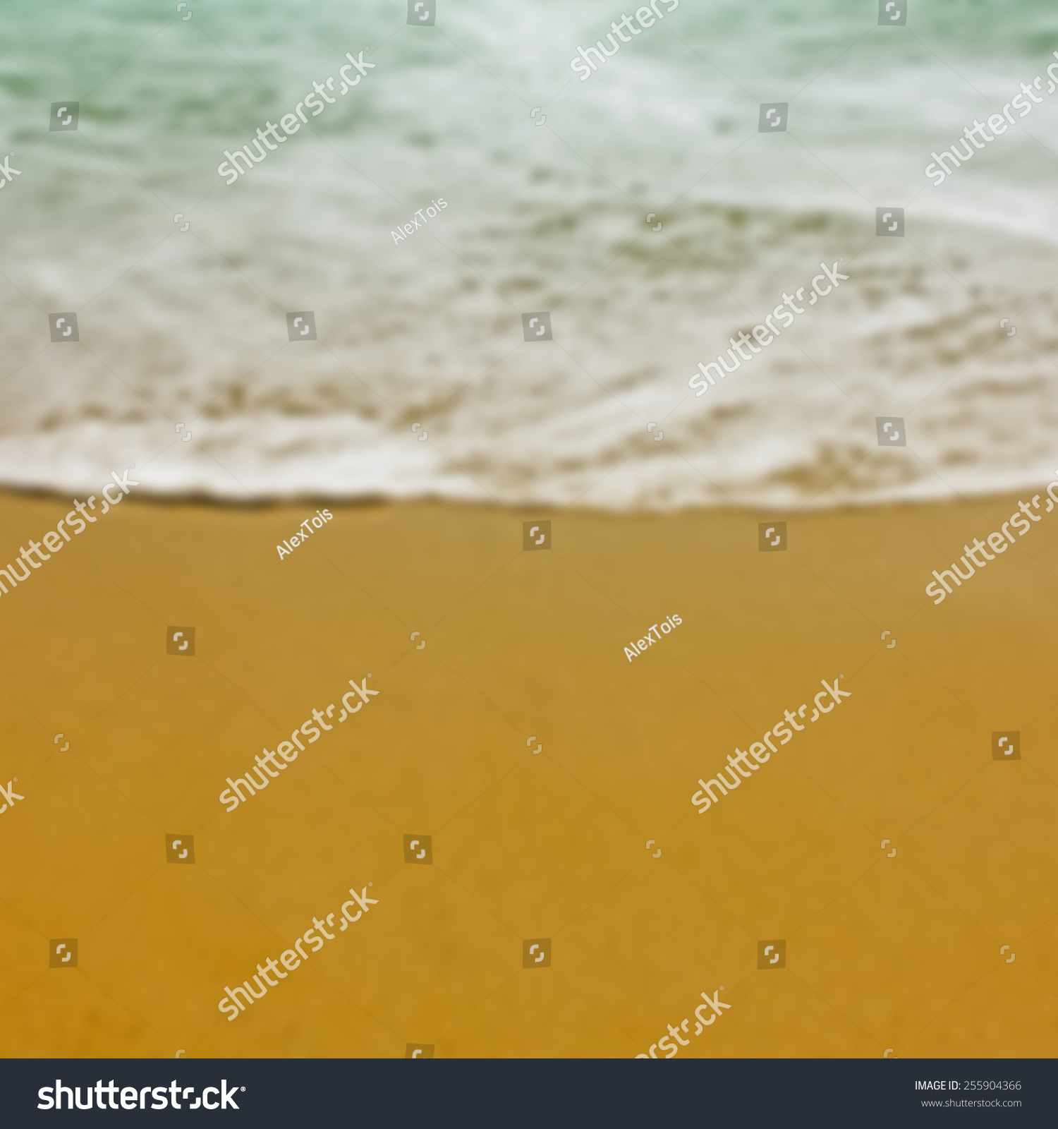 Background Of Blurred Beach And Sea Waves With Bokeh: Blurred Vector Background. Wave And Beach Sand. Mesh Eps10