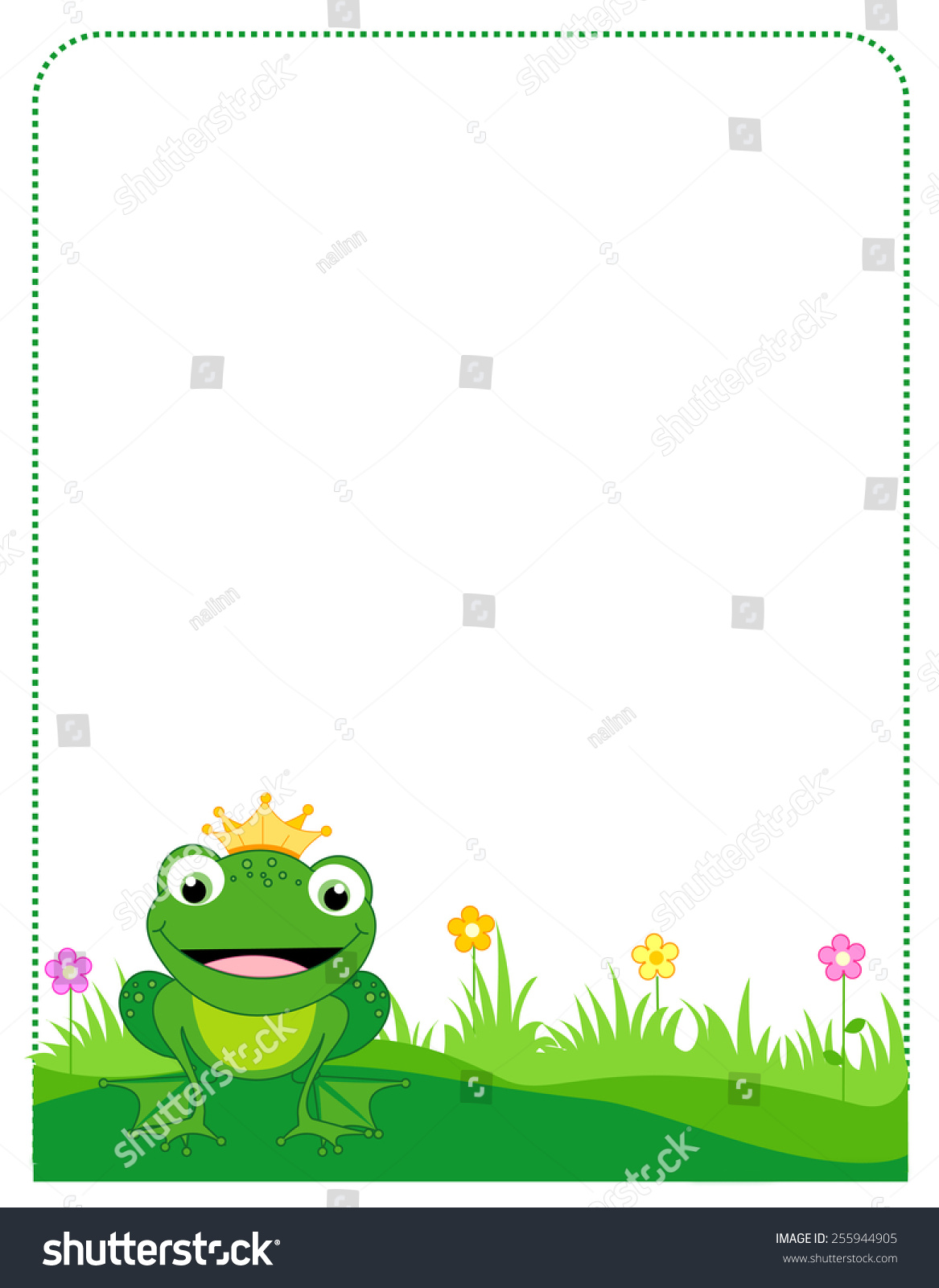 Cute Frog Golden Crown Border Frame Stock Vector HD (Royalty Free ...